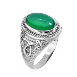 White Gold Celtic Trinity Green Onyx Gemstone Ring