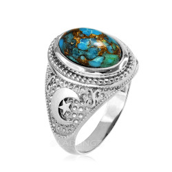 White Gold Blue Copper Turquoise Islamic Crescent Moon Ring.