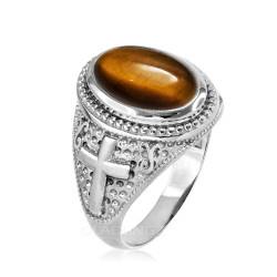 White Gold Tiger Eye Christian Cross Gemstone Ring