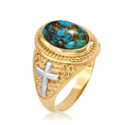 Two-Tone Yellow Gold Blue Copper Turquoise Christian Cross Gemstone Ring