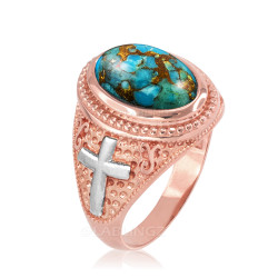 Two-Tone Rose Gold Blue Copper Turquoise Christian Cross Gemstone Ring