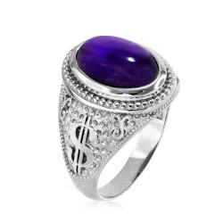 White Gold Purple Amethyst February Cash Money Dollar Sign Birthstone Ring