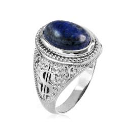White Gold Cash Money Dollar Lapis Lazuli Statement Ring