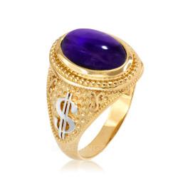 Two-Tone Yellow Gold Purple Amethyst February Cash Money Dollar Sign Birthstone Ring