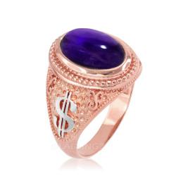 Two-Tone Rose Gold Purple Amethyst February Cash Money Dollar Sign Birthstone Ring