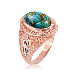 Two-Tone Rose Gold Cash Money Dollar Sign Blue Copper Turquoise Statement Ring