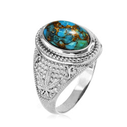 White Gold Marijuana Weed Blue Copper Turquoise Statement Ring