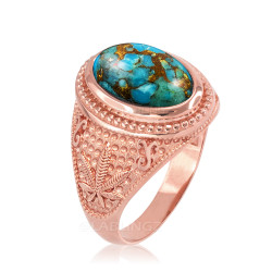 Rose Gold Marijuana Weed Blue Copper Turquoise Statement Ring