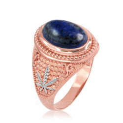 Two-Tone Rose Gold Marijuana Weed Lapis Lazuli Statement Ring