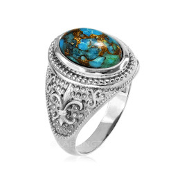 White Gold Blue Copper Turquoise Fleur-De-Lis Gemstone Ring