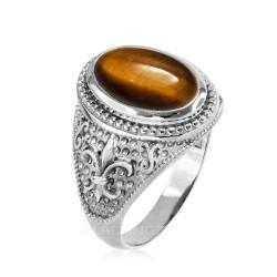 White Gold Tiger Eye Fleur-De-Lis Gemstone Ring