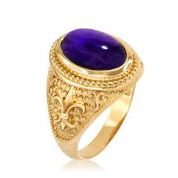 Yellow Gold  Purple Amethyst February Fleur-De-Lis Birthstone Ring