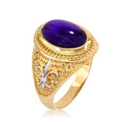 Two-Tone Yellow Gold  Purple Amethyst February Fleur-De-Lis Birthstone Ring
