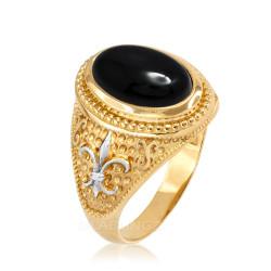 Two-Tone Yellow Gold Black Onyx Fleur-De-Lis Gemstone Ring