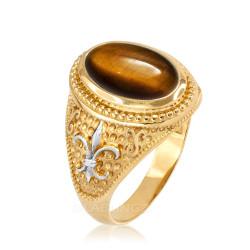 Two-Tone Yellow Gold Tiger Eye Fleur-De-Lis Gemstone Ring