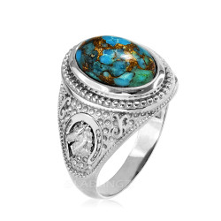 White Gold Blue Copper Turquoise  Lucky Horse Shoe Gemstone Ring