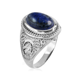 White Gold Lapis Lazuli Lucky Horse Shoe Gemstone Ring