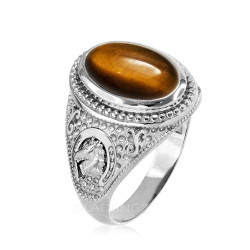 White Gold Tiger Eye Lucky Horse Shoe Gemstone Ring