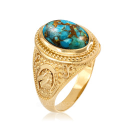 Yellow Gold Blue Copper Turquoise  Lucky Horse Shoe Gemstone Ring