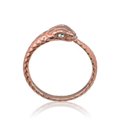 Rose Gold Ouroboros Snake Ladies Diamond Ring