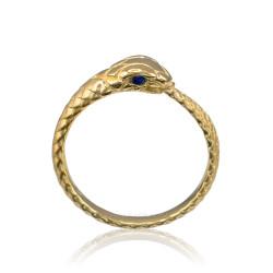 Gold Ouroboros Snake Ladies Blue Sapphire Ring