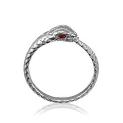 White Gold Ouroboros Snake Ruby Ring