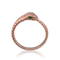 Rose Gold Ouroboros Snake Ladies Emerald Ring
