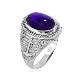 White Gold Marine Anchor Purple Amethyst Birthstone Ring