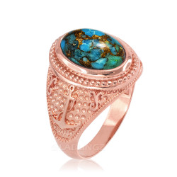 Rose Gold Marine Anchor Blue Copper Turquoise Gemstone Ring
