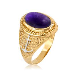 Two-Tone  Yellow Gold Marine Anchor Purple Amethyst Birthstone Ring