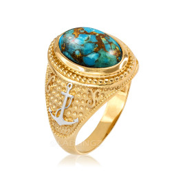 Two-Tone  Yellow Gold Marine Anchor Blue Copper Turquoise Gemstone Ring