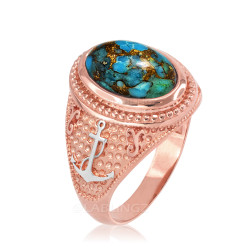 Two-Tone Rose Gold Marine Anchor Blue Copper Turquoise Gemstone Ring
