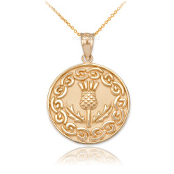 Gold Scottish Thistle Medallion Pendant Necklace
