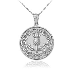 White Gold Scottish Thistle Medallion Pendant Necklace