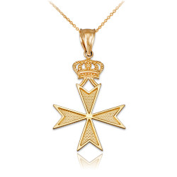 Yellow Gold Maltese Cross Royal Crown Pendant Necklace
