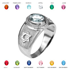 White Gold Star of David Jewish Birthstone CZ Ring