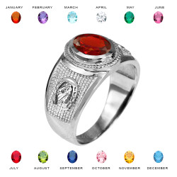 Sterling Silver Lucky Horseshoe Birthstone CZ Ring
