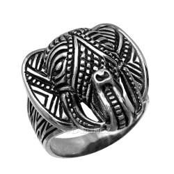 Solid Sterling Silver Ganesha Elephant Head Mens Statement Ring
