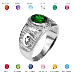 Sterling Silver Islamic Crescent Moon CZ Birthstone Ring