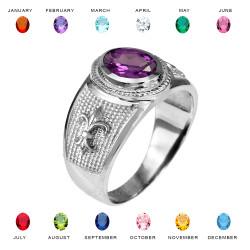 Sterling Silver Fleur De Lis CZ Birthstone Ring