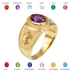 Yellow Gold Fleur De Lis CZ Birthstone Ring