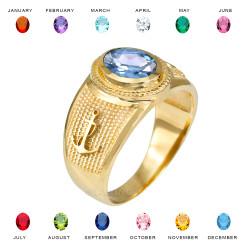 Yellow Gold Mariner Anchor CZ Birthstone Ring