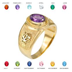 Yellow Gold Lotus Flower Yoga CZ Birthstone Ring