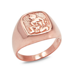 Rose Gold Aquarius Mens Zodiac Ring