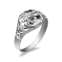 White Gold Leo Satin DC Band Ladies Zodiac Ring