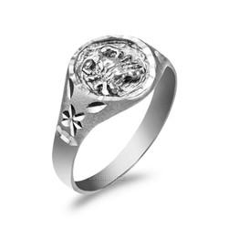 White Gold Cancer Satin DC Band Ladies Zodiac Ring