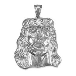 Sterling Silver Jesus Face Cuban Link Crown Polished Pendant