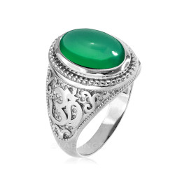Sterling Silver Om Oval Cabochon Green Onyx Mens Yoga Ring