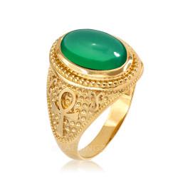 Yellow Gold Egyptian Ankh Cross Green Onyx Statement Ring.