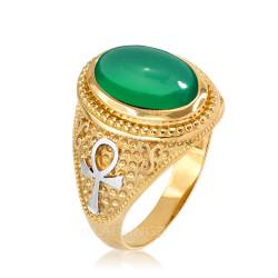Two-Tone Yellow Gold Egyptian Ankh Cross Green Onyx Statement Ring.